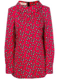 блузка с цветочным вырезом и воротником-хомут  Marni