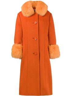 пальто с отделкой мехом лисы Yvonne Saks Potts