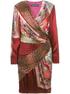 платье с запахом с миксом принтов Etro