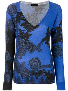 свитер с V-образным вырезом и принтом пейсли  Etro