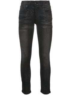 джинсы скинни с эффектом змеиной кожи R13