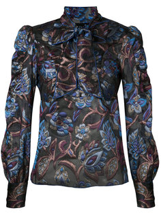 sheer floral blouse with neck tie Anna Sui