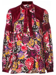 рубашка с бархатными вставками Anna Sui
