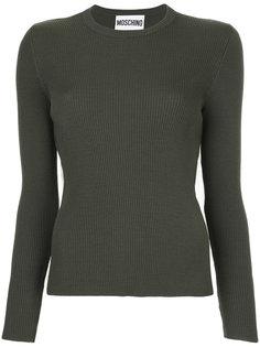 свитер в рубчик со вставкой из тюля  Moschino