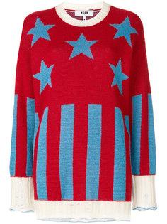 свитер с полосками и звездами  MSGM