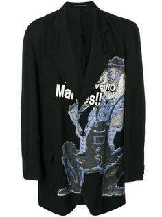 пиджак с принтом и вышивкой Yohji Yamamoto