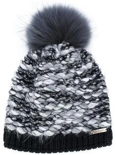 текстурная шапка с помпоном из енотового меха Norton