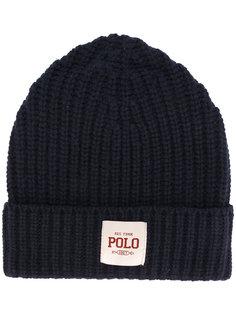 шапка в рубчик с заплаткой с логотипом Polo Ralph Lauren