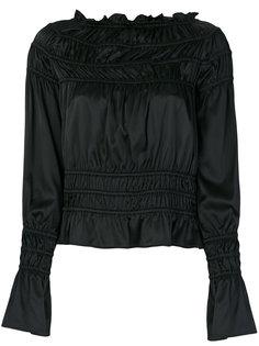 блузка с вырезом-лодочкой и эластичными вставками Giorgio Armani