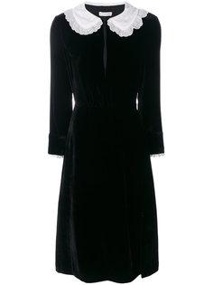 бархатное платье с контрастным воротником Altuzarra