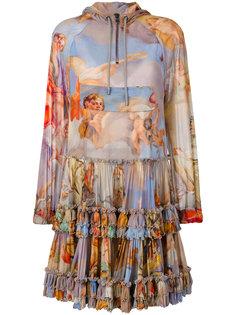 платье с капюшоном и рисунком Fresco Moschino