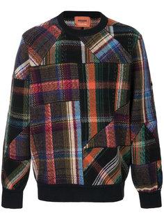 свитер с круглым вырезом в клетку в стилистике пэчворк Missoni
