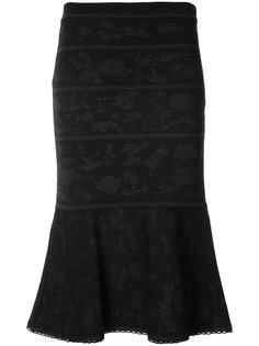 jacquard trumpet knit skirt Carolina Herrera