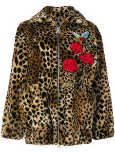куртка с леопардовым принтом и вышивкой  Ainea