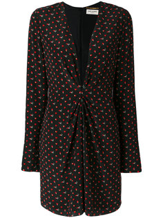 платье с длинными рукавами и глубоким V-образным вырезом Saint Laurent