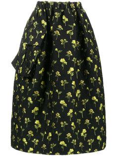 асимметричная пышная юбка с цветочной вышивкой Simone Rocha