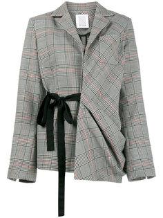 пиджак в асимметричную клетку с завязкой  Rosie Assoulin