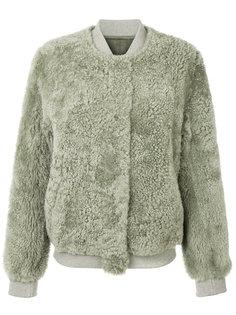 куртка-бомбер из овечьего меха с вышивкой Meteo By Yves Salomon