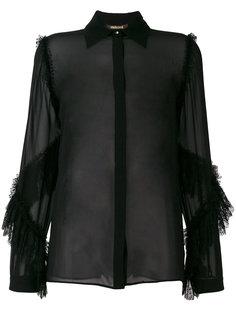 полупрозрачная рубашка с оборками на рукавах Roberto Cavalli