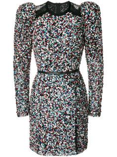 платье с пайетками, кружевом и объемными плечами Elie Saab