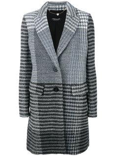 однобортное пальто в полоску Twin-Set