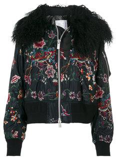 куртка-бомбер с цветочной вышивкой и воротником  Sacai