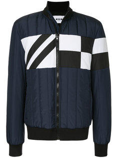 куртка-бомбер в стиле колор блок MSGM