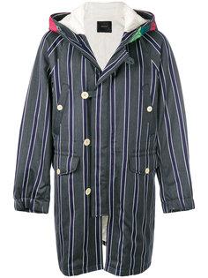 полосатое пальто с капюшоном Undercover