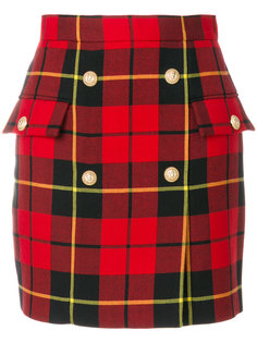 мини-юбка с принтом тартан  Balmain