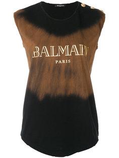 футболка с логотипом и принтом тай-дай  Balmain