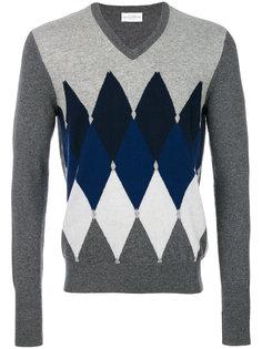 свитер вязки аргайл с V-образной горловиной Ballantyne