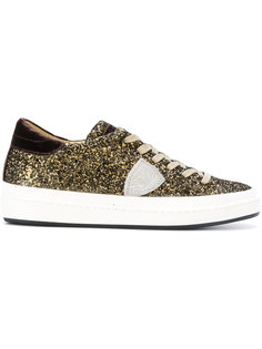 кроссовки на шнуровке с блестками Philippe Model