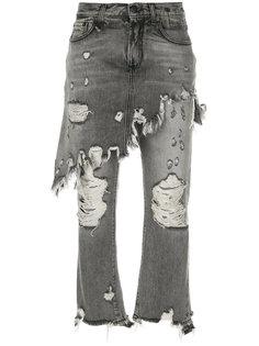 состаренные джинсы с эффектом юбки  R13