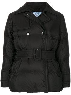дутая куртка с поясом  Prada