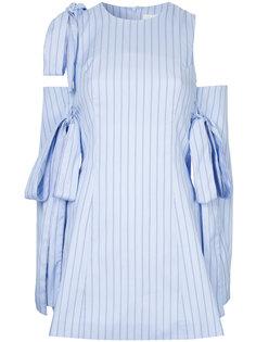 полосатое платье с открытыми плечами Strateas Carlucci