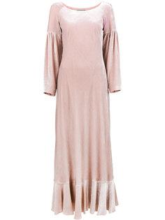 бархатное платье макси с объемными рукавами  Alberta Ferretti