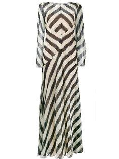 платье с длинными рукавами в полоску  Alberta Ferretti