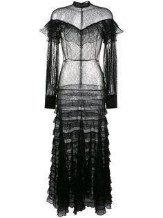 прозрачное кружевное платье с рюшами Alessandra Rich