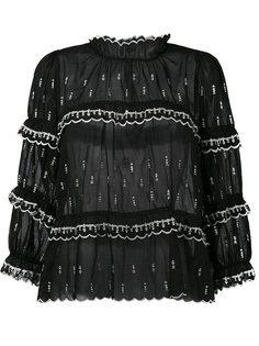блузка с вышивкой и оборкой  Isabel Marant Étoile