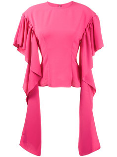 блузка с длинными драпированными рукавами Rejina Pyo