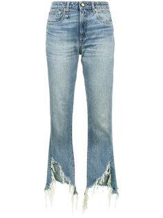 состаренные расклешенные джинсы скинни R13
