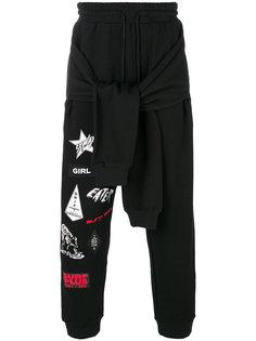 спортивные брюки с серферскими стикерами и декоративными рукавами Ex Infinitas