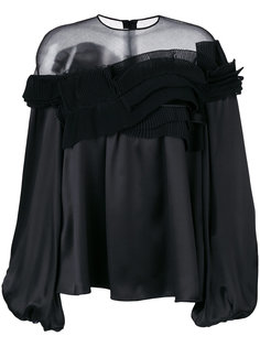 расклешенная блузка с полупрозрачной вставкой  Givenchy