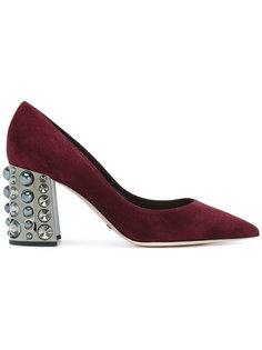 туфли-лодочки с заостренным носком и кристаллами на каблуке Sebastian