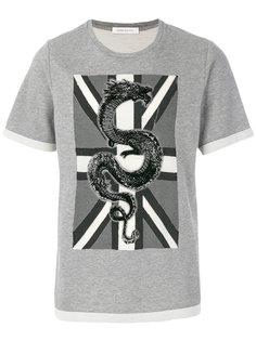 футболка с изображением дракона и флага Pierre Balmain