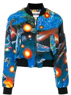 укороченная куртка с космическим принтом  Moschino