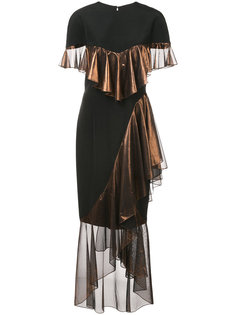 платье с асимметричными рюшами Christian Siriano