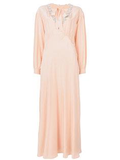 платье-макси с декорированной горловиной Miu Miu