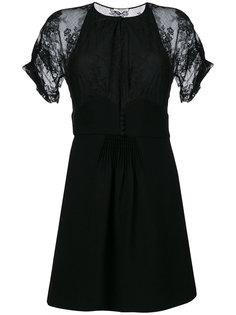 платье мини с кружевными рукавами  Miu Miu