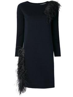 платье шифт декорированное перьями Gianluca Capannolo